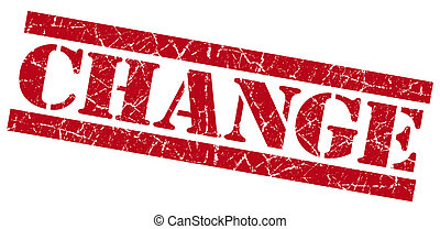 Change red square grunge textured stamp isolated on white