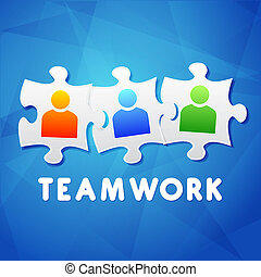 teamwork and puzzle pieces with person signs, flat design -...