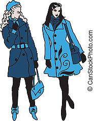 Pair of beautiful fashion girls