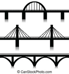Bridges set - Illustration of silhouette of bridges as a...