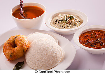 Idli Vada- Popular South Indian breakfast dish. - Idli Vada...