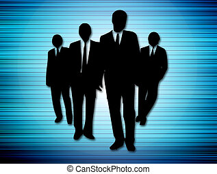 team - black silhouette of team on blue background. business...