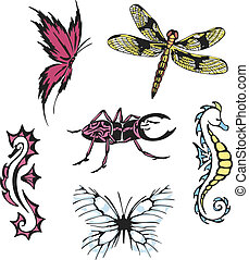 miscellaneous insects and sea horses - Vector images of...