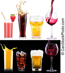 Collection of different images alcohol isolated on a black...