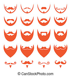 Ginger beard with moustache icons - Different styles on red...