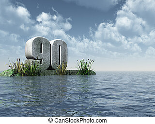 ninety - the number ninety - 90 - at the ocean - 3d...