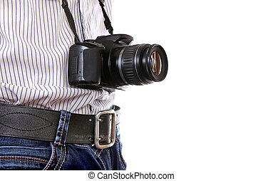 Man with Camera - Man with Photocamera closeup on the White...
