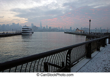 A sunrise view of Manhattan as seen from Hoboken New Jersey