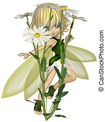 Toon Daisy Fairy, Skipping - Cute toon blonde fairy in leaf...