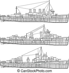 Warship - Layered vector illustration of Warship