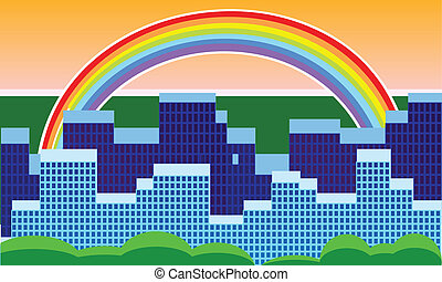 city with a rainbow