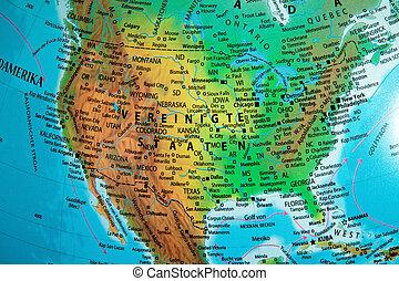 america on a globe