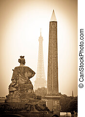 paris, france. place de la concorde. obelisk and eiffel...