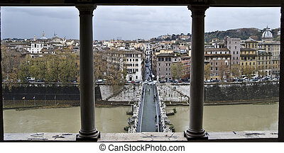 Ponte Sant Angelo - famous Ponte Sant Angelo in Rome in...