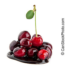 cherries in a chocolate are isolated on a white background