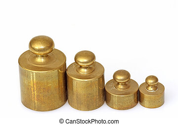 Pharmacy lead weights - A set of lead weights isolated on...