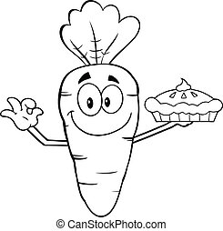 Outlined Carrot Holding Up A Pie - Black And White Smiling...