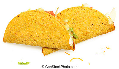Two Tacos Stacked on White Background with cheese and...