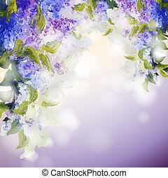 Lilac flowers background Spring flowers invitation template...