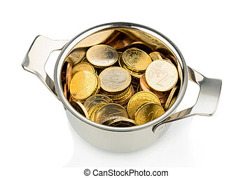 pot with lots of euro coins - a cooking pot, half filled...