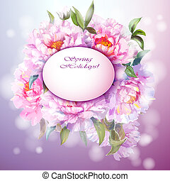 Peonies flowers background. Spring flowers invitation...