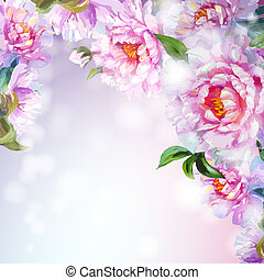 Peonies flowers background Spring flowers invitation...