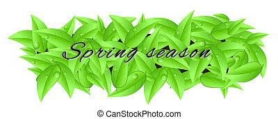 """Banner made of leaves with inscription """"spring season"""""""
