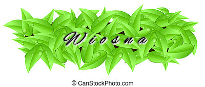 """Banner made of leaves with inscription """"spring"""" in Polish"""