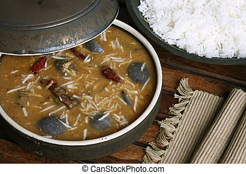 Brinjal sambar - A lentil soup from Tamilnadu - Bringal...