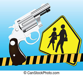 Weapons and school - Creative on weapons and school. Vector...