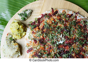 Vegetable Dosa - a pancake from South India - Vegetable Dosa...