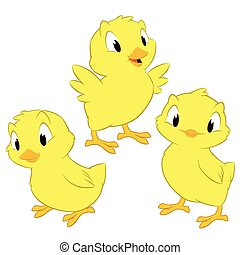 Cartoon Chickens - Cartoon chickens. Isolated objects for...