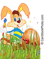 Easter Bunny with a brush to paint in the green grass near...