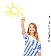 cute little girl drawing sun with brush - education, school...