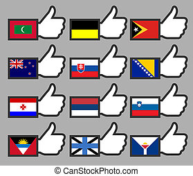 Flags in the Thumbs up-12, flat vector illustration