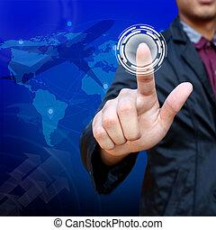 negócio, homem, Empurrar, Criativo, botão,...