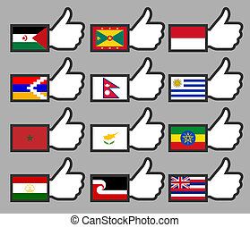 Flags in the Thumbs up-15, flat vector illustration