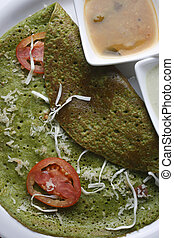 Palak Dosa - A Crispy Spinach pancake - Top View of Palak...