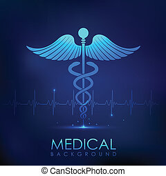 Healthcare and Medical Background - illustration of Caduceus...