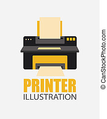 Printer design over gray background, vector illustration