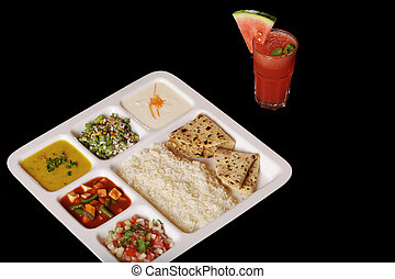 Indian vegetarian thali.