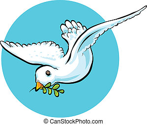 Dove with Olive Branch - A cartoon dove carrying an olive...