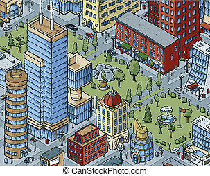 Downtown City Scene - Scene of a cartoon park in the middle...