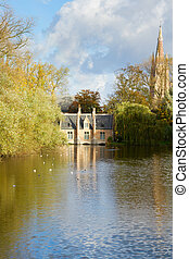 Minnewater pond , Brugge - Minnewater pond at sunny day,...
