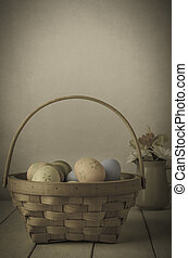 Easter Egg BAsket and Flowers - Vintage - A wiicker basket...