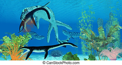 Dakosaurus Marine Reptile - A Dakosaurus attacks a small...