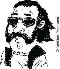 Cool Dude - Cartoon portrait of a cool dud wearing...