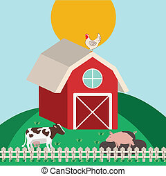 farm design over  blue  background vector illustration