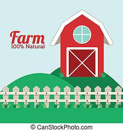 farm design over landscape   background vector illustration