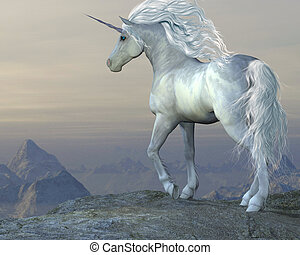 Unicorn Bluff - A white unicorn stallion looks over his vast...
